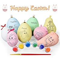 NextX 8PCS Easter Egg Hanging Bonnet Decorations DIY Painting Craft Multicolour Ornaments Including Painting brush and Pigment