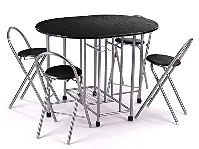 Small Dining Table and 4 Chairs Set 5 Pcs Butterfly Kitchen Folding Dining - low-cost UK light store.
