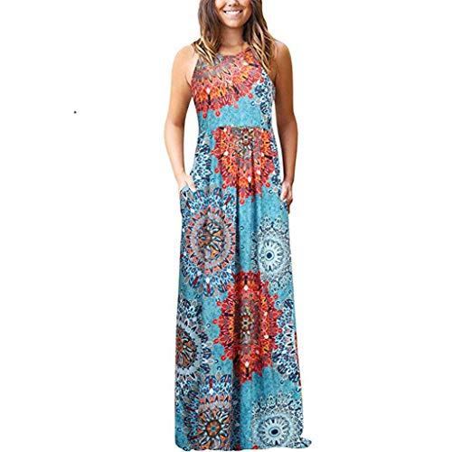 Zegeey Damen Kleid Sommer Kurzarm Rundhals Einfarbig Blumenkleid Maxi Kleid A-Linie Kleider Vintage Elegant LäSsige Kleidung Basic Casual Strandkleider(W19-Grün,EU-38/CN-M)