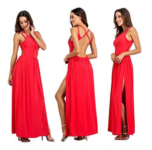 MEILI Vestito da notte aperto vestito sexy della maglia del vestito dal retro della maglia di cucitura di colore solido aperto 2