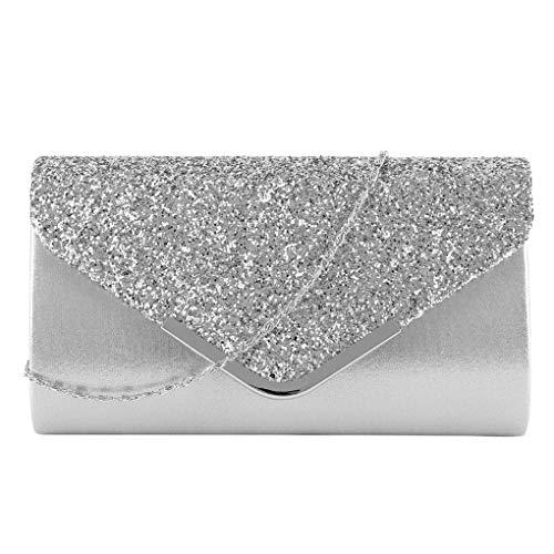 Damen Abend Kupplung weibliche Handtasche Vintage Kette Wallet Party Umschlag Handytasche Silver (Silver Dollar Anzeige)