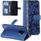 FNBK Galaxy S9 Plus Hülle Leder Wallet Glitzer Strass Blume Design blau
