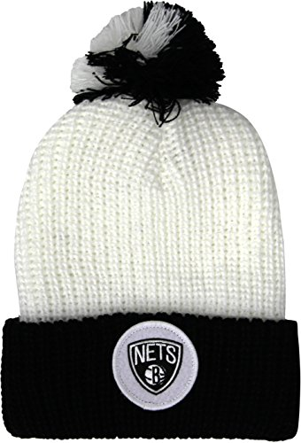 Mitchell & Ness NBA BROOKLYN NETS Retro Patch Adult's Beanie Hat (KN34Z) (White) (One Size)