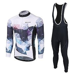 Skysper Maillot Conjunto Mangas Largas Culote Pantalones Largos de Ciclismo para Hombre Ropa Maillot Transpirable para Deportes al aire libre Ciclo Bicicleta Otoño Invierno