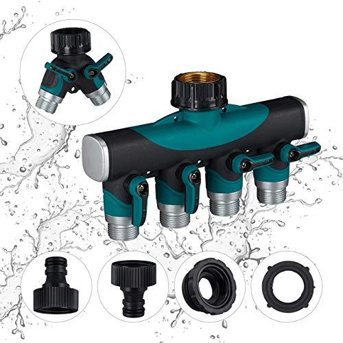 Relaxdays 4 Wege Verteiler, mit Absperrhähnen, Wasserdurchfluss regulierbar, für Garten, Wasserverteiler, schwarz-grün -