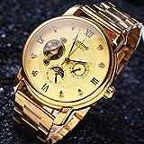 Fashion Watches Schöne Uhren, Herren-High-End-Business-runder Diamant Wahlmineralglasspiegel Edelstahlband Mode mechanische wasserdichte Uhr (Farbe : Golden, Großauswahl : Einheitsgröße)