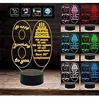 BUON COMPLEANNO Lampada a led 7 colori selezionabili personalizzata con numero 80 regalo AUGURI da tavolo o scrivania…