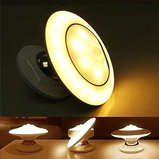 FUNRUI LED Nachtlicht mit Bewegungsmelder, 360° Drehbare LED Sensorleuchte Wandleuchte USB Baby Nachtleuchte Wiederaufladbar Nachtlichter für Flur Treppen Küche Bad