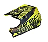 Casco MOTOCROSS per Bambino Moto Cross Enduro ATV MX BMX Quad Nero Opaco - Giallo - XS (51-52cm)