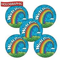 90 Holographic Sparkly Well Done Rainbow Childrens Pupils School Praise Teachers Reward Stickers 25mm Primary Teaching Services