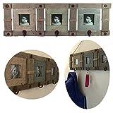 LS-LebenStil XL Holz Wandgarderobe Bildergalerie Braun 65x20x5cm Shabby rustikal Garderobe Bilderrahmen