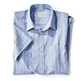 Samuel Windsor Men's Linen Mix Short-Sleeve Shirts In Checks, Stripes and Plain Designs In Pink, Blue, Grey and Cream