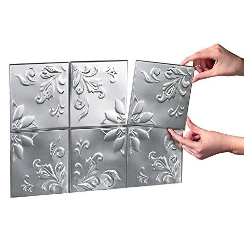 Tin Kitchen Backsplash Tiles - Set Of 14 Silver by Collections Etc (Backsplash Na)