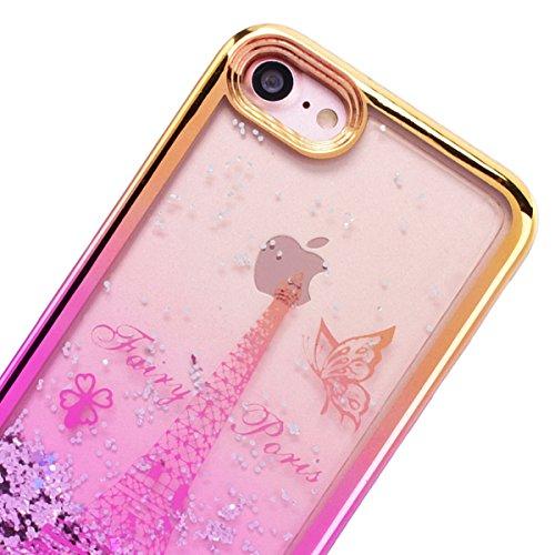 GrandEver iPhone 7 Glitzer Hülle Weiche Silikon Handyhülle Gel Bling TPU Bumper Liquid Fließen Flüssigkeit und Electroplate Schutzhülle für iPhone 7 Rückschale Klar Handytasche Anti-Kratzer Stoßdämpfu Eiffelturm