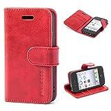 Mulbess Ledertasche im Ständer Book Case / Kartenfach für Apple iPhone 4 / 4S Tasche Hülle Leder Etui,Wine Rot