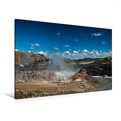 Calvendo Premium Textil-Leinwand 120 cm x 80 cm quer, Dampfende Erde in Landmannalaugar | Wandbild, Bild auf Keilrahmen, Fertigbild auf echter Leinwand. direkt neben dem ewigen EIS Natur Natur -