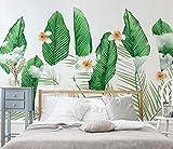 (200X140CM), Alte Zeitung 3D tapete - Frisches Grün gepflanzt Nordic Wind Bananenblatt - Wallpaper Poster Wanddekoration von Bestwind