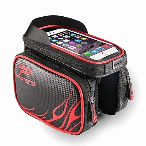 ZOTO Fahrrad Rahmentasche, Wasserdicht Oberrohrtasche für Mountain Road Bike, TPU Touchscreen-Doppeltasche Rahmentaschen für Smartphone unter 6,3 Zoll (Red)