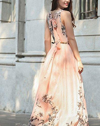 Femme Robe Maxi Longue Sans Manche Floral Imprimé Avec Ceinture Plage de Sable Robes pink