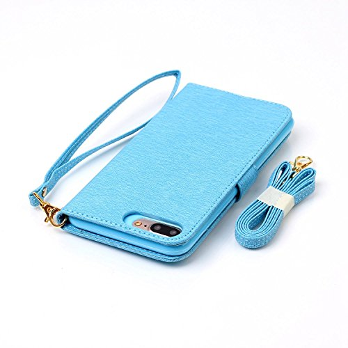iPhone 7 Plus Hülle, iPhone 7 Plus Neo Hülle Case, iPhone 7 Plus Leder Brieftasche Hülle Case,Cozy Hut iPhone 7 Plus Leder Hülle iPhone 7 Plus Ledertasche Brieftasche Schutz Handytasche mit Standfunkt blau Blume