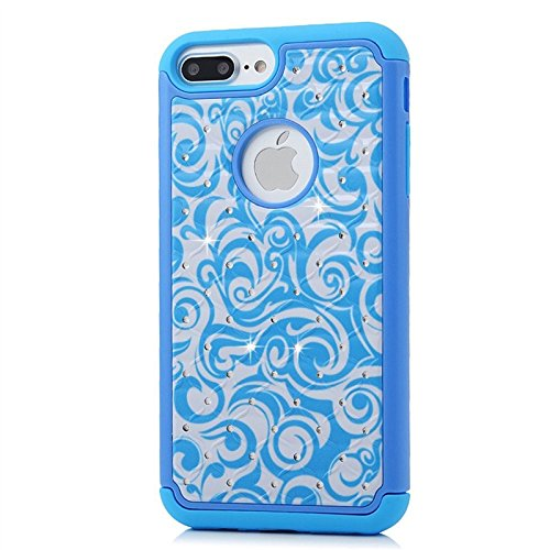 Für iPhone 7, Yokata Bling Diamant 3 in 1 Case Sehr Dünn mit Soft Cover Blumen Motiv Hülle Weich TPU Silikon Bumper Backcover Shell Schutzhülle Handyhülle + 1 x Kapazitive Feder Blau