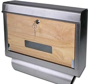 top design briefkasten edelstahl holz natur zeitungsfach modell elecsa 1036 baumarkt. Black Bedroom Furniture Sets. Home Design Ideas