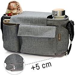 Cochecito Bolsa, Airlab Organizador buggy con cremallera, capacidad de 5 cm extra para ampliar, Gran espacio de almacenamiento para los juguetes, pañales, biberones, teléfonos móviles y otros artículos para bebés, repelente al agua, Gris