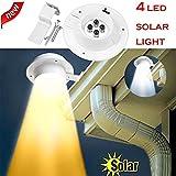Solar Wandleuchte, Led Wireless Wetterfeste Licht mit Batterie, für Garten, Zaun, Hof, Auffahrt, Treppen (Warmes Licht)
