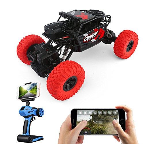 JJRC Q45 Ferngesteuerter Monster Truck Auto mit Kamera Live Übertragung FPV Foto und Video Funktion App steuerbar 20 Minuten Laufzeit 4WD 1:18 2.4GHZ Kinder Offroad RTR Spielzeug Schwarz / Rot