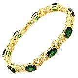 RIVA XOXO Verbindung Tennis Armband [18cm/7inch] mit Ovalschliff Edelstein Zirkonia CZ [Grün Smaragd] in 18K Gelbgold Vergoldet, Einfache Moderne Eleganz