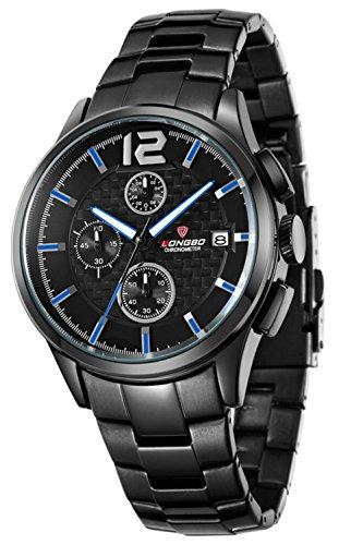 Herren-analoge Quarzuhr schwarze Edelstahlband Business-Armbanduhr für Männer, Datum beiläufige Uhr