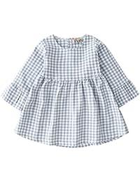 K-youth Vestidos Bebe Niña, Vestido de Princesa Estampado de Enrejado Manga Larga de Bebé Recién Nacido Tutú Princesa Vestido Bautizo Bebé Niñas Otoño Invierno Ropa para 0-4 Años