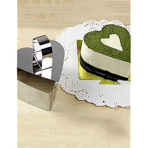 HJLKP Strumento 3''mousse set di anello mousse cuore di amore con torta di formaggio impugnatura stampo in acciaio inox