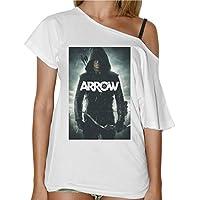 T-Shirt Donna Collo Barca Arrow Freccia Verde Serie Tv -