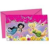 Procos disney 6 biglietti d'invito con busta per feste a tema Trilly Fairies Tinker Bell