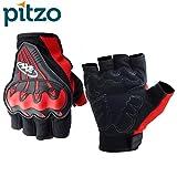#10: Pitzo Axe Racing Summer Half Finger Riding Gloves (Red, Medium)
