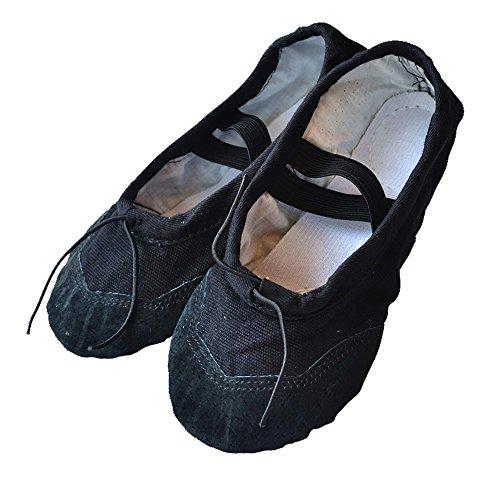 Baysa - Ballettschläppchen aus Leinengewebe mit Lederverstärkung - in verschiedenen Farben und Größen Schwarz