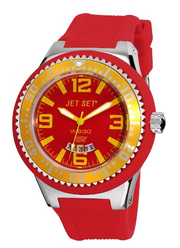 Jet Set–J54443-03Wb30–Watch Men–Quartz Analogue–Multi-Coloured Dial Red Rubber Strap
