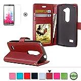 LG Leon 4G LTE Leder Brieftasche Hülle Case Flip Cover -
