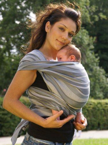 Didymos 446007 Babytragetuch, Modell Wellen silber, Größe 7 -