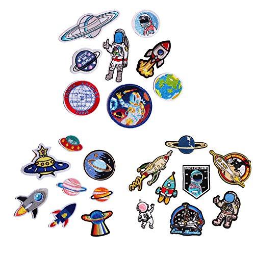 Patches zum Aufbügeln, Gosear 24 Stück Exquisit DIY Kleider Patches Aufkleber Mini Mode Astronaut Raumschiff Muster Gestickt Aufbügelbarer Patch zum T-Shirt Jeans Hüte Taschen Kleidung Kunst -