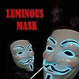ELINKUME Halloween Cosplay LED luminous Maske V für Revolt Replica Resin Mask (blaues Licht)