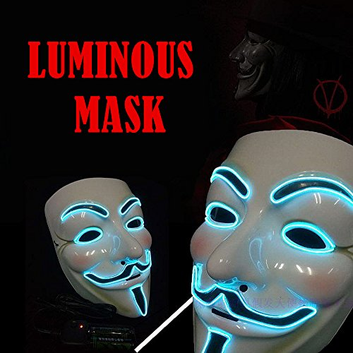 ELINKUME Halloween Cosplay LED luminous Maske V für Revolt Replica Resin Mask (blaues Licht)