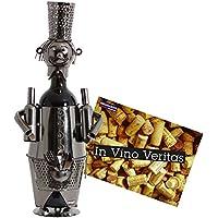 BRUBAKER Porte-bouteille de Vin décoratif - Sculpture en Métal - Idée cadeau - Barman