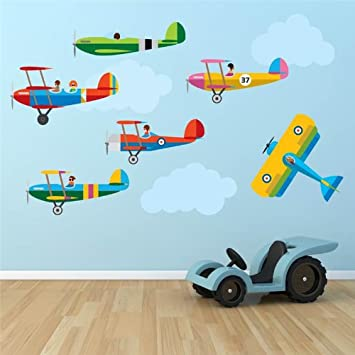 Supertogether Aeroplanes Childrens Wall Stickers   Kids Airplane Bedroom  Planes Playroom Nursery Decals