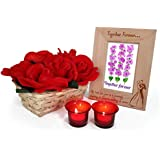 TiedRibbons® Karvachauth Gift Items Artificial Rose Basket And Wooden Photo Frame With 2 Tealight Candles Holder | Karwa Gift For Husband | Karwachauth Special Gifts For Husband | Karwachauth Special Gifts For Husband