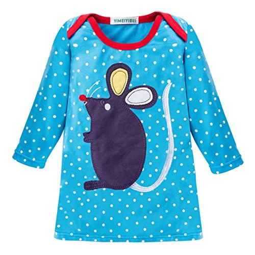 Juleya Kleid Weihnachten Kostüm Kleider Herbst Winter Mädchen Langarm Blau Maus 80 (Mädchen Fly 80's Kostüm)