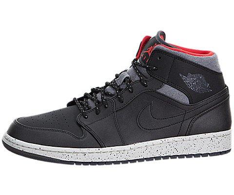 Nike Herren Air Jordan 1 Mid Fitnessschuhe, Schwarz/Grau/Weiß/Rot (Blk/Drk Gry-Lght Infrrd Bn-23) 42 EU (Grau Jordan Rot, Und Weiß)