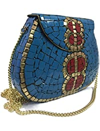 Party Sling Clutch Mosaic Bag Stone Clutch Ethnic Metal Box Bridal Wallet Indian Vintage Bag Party Clutches For...