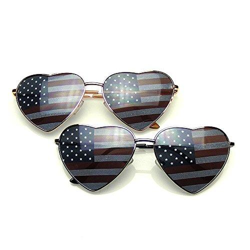 rille Pack Schattierungen BUNDLE Sonnenbrillen Flash Mirror Gespiegelt-Shades Sonnenbrille UV400 Sonnenbrille (Neuheit-Objektiv | Amerikanische Flagge) (Aviator Sonnenbrille Großhandel)